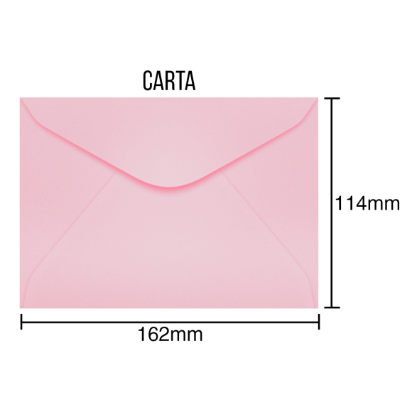 Envelopes para Carta Rosa Perolado - 100 Unidades - Scrity