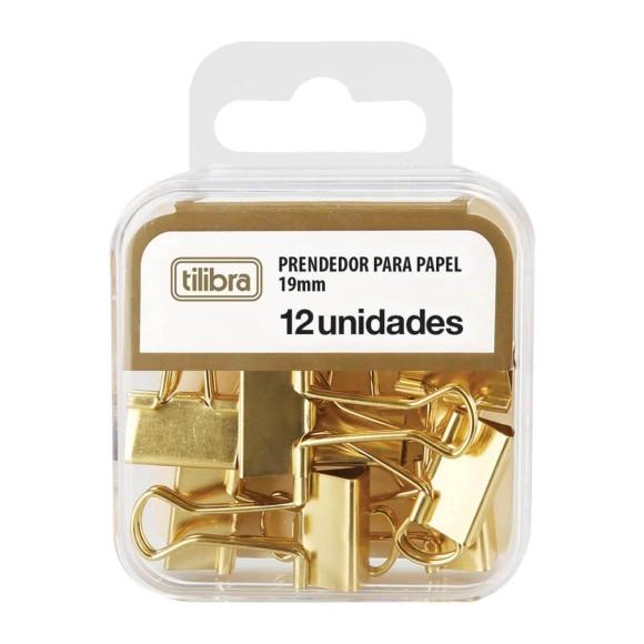 Prendedor Dourado para Papel - 19mm - Tilibra