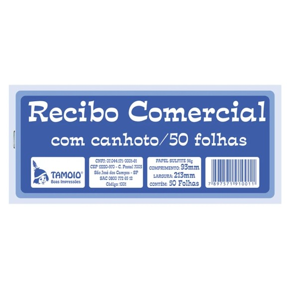 Pacote c/ 20 Unidades - Recibo Comercial c/ Canhoto - Tamoio
