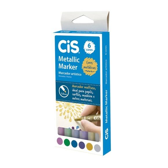 Metallic Marker - Marcador Artístico - 6 Cores Metálicas - CIS