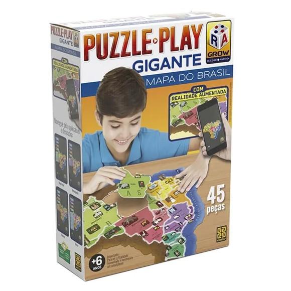 Quebra-cabeça - Puzzle Play Gigante Mapa do Brasil 45 peças - Grow