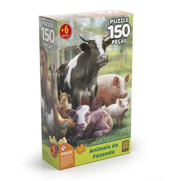 Quebra-cabeça 150 peças - Animais da Fazenda - Grow