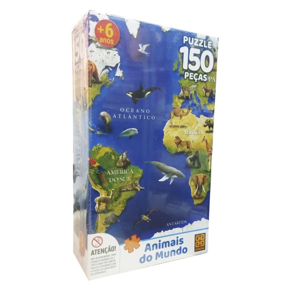 Quebra-cabeça 150 peças - Animais do Mundo - Grow