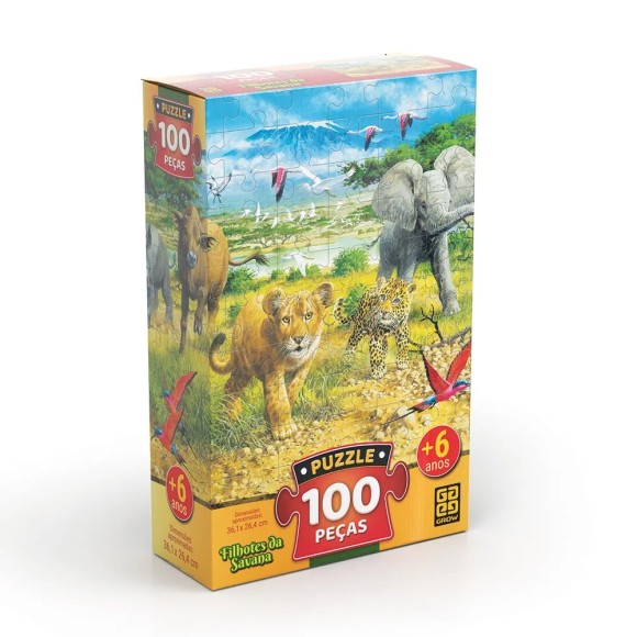 Quebra-cabeça 100 peças - Filhotes da Savana - Grow