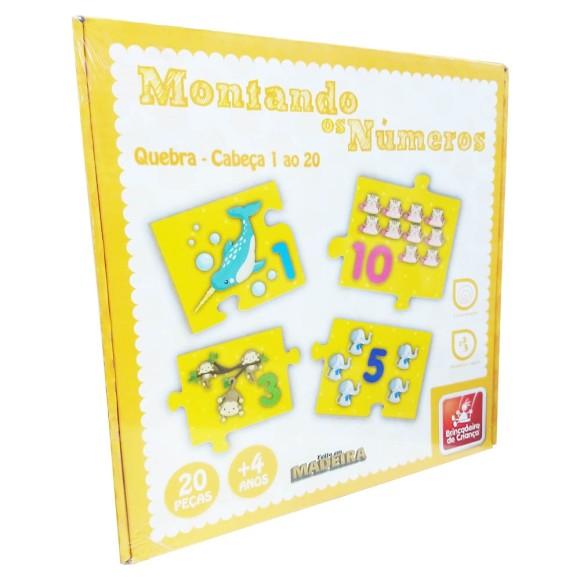 Montando Os Números - Quebra-cabeça 1 ao 20 - 20 Peças - Brincadeira de Criança