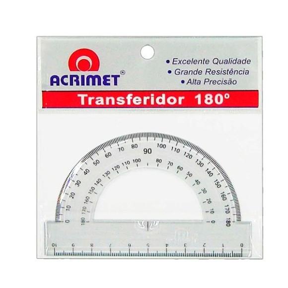 Transferidor Escolar Acrílico - 180º x 10cm - Acrimet