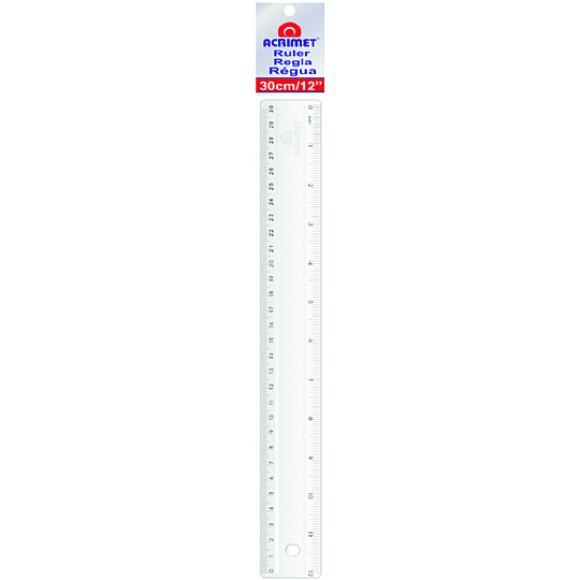 Régua Acrílica Escolar 30cm / 12 polegadas - Acrimet