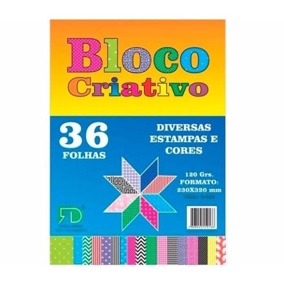 Bloco Criativo 36 Folhas - Estampas Variadas - 120g/m²