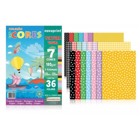 Color Set Textura Visual 180g/m² - 36 folhas