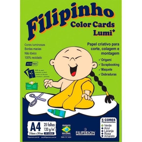 Filipinho Colors Cards Lumi+ - 25 folhas 120g/m² - FLUORESCENTES