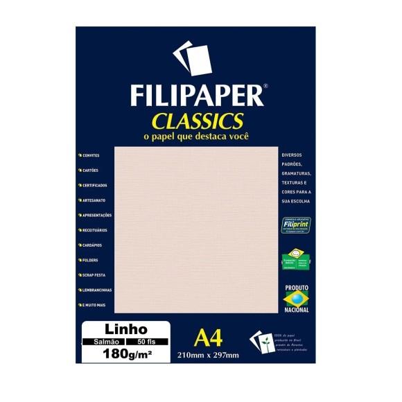 Papel Linho Salmão A4 180g/m² - 50 folhas - Filipaper