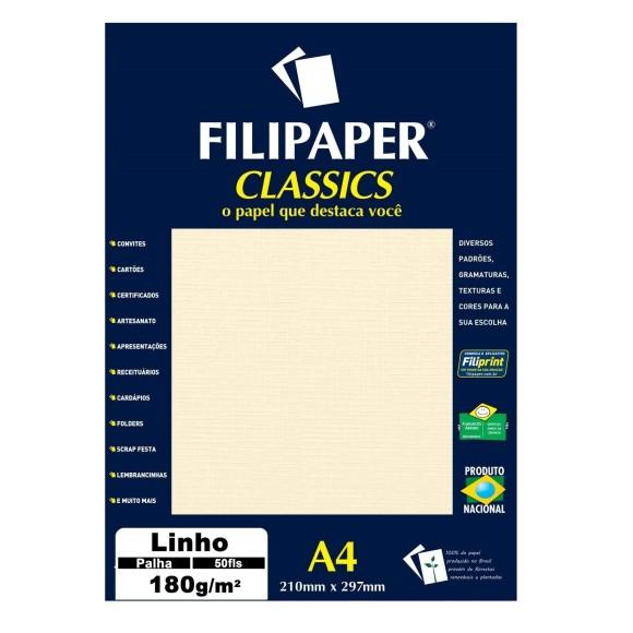 Papel Especial Linho Palha A4 180g/m² - 50 folhas - Filipaper