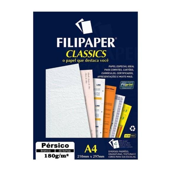 Papel Especial Pérsico Branco A4 180g/m² - 50 folhas - Filipaper