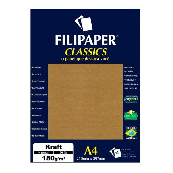 Papel Kraft Natural A4 180g/m² - 50 folhas - Filipaper