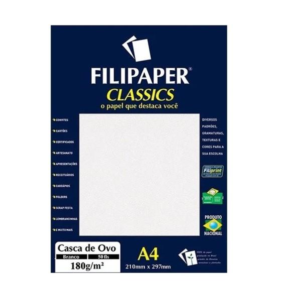 Papel Especial Casca de Ovo Branco A4 180g/m² - 50 folhas - Filipaper