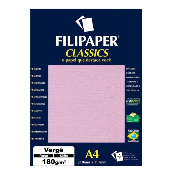 Papel Especial Vergê Rosa A4 180g/m² - 50 Folhas - Filipaper