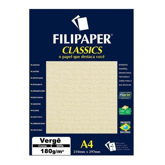 Papel Especial Vergê Creme A4 180g/m² - 50 Folhas - Filipaper