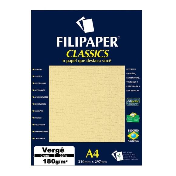 Papel Especial Vergê Creme A4 180g/m² - 20 Folhas - Filipaper
