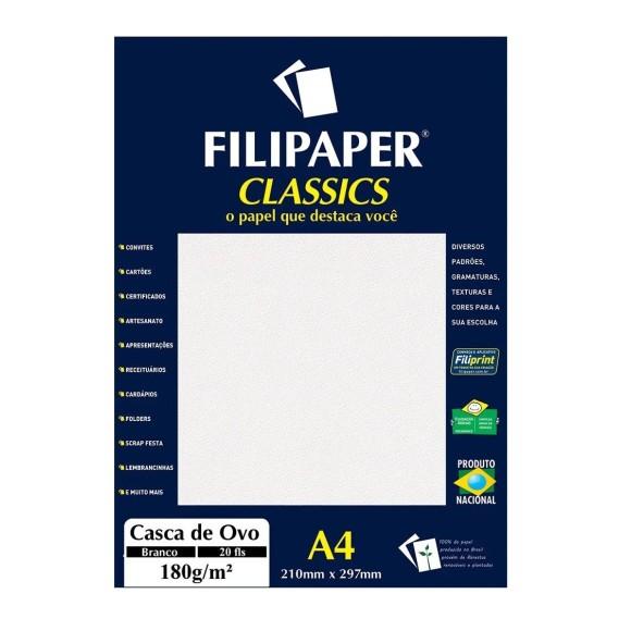 Papel Especial Casca de Ovo Branco 180g/m² - 20 Folhas - Filipaper