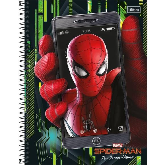 Caderno 1 Matéria Universitário Espiral Spider Man Far From Home (Homem Aranha Longe de Casa) - Tilibra