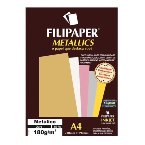 Papel Especial Metálico Ouro A4 180g/m² - 15 folhas - Filipaper