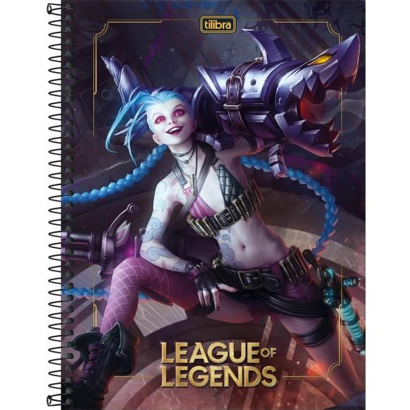 Caderno 1 Matéria Universitário Espiral League of Legends - Jinx - Tilibra
