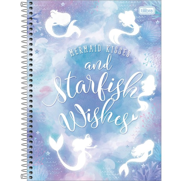 Caderno 16 Matérias Universitário Espiral Wonder Sereia - Mermaid Kisses and Starfish Wishes - Tilibra
