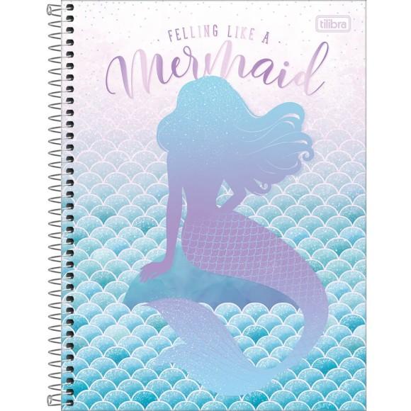 Caderno 1 Matéria Universitário Espiral Wonder Sereia - Feeling Like a Mermaid - Tilibra