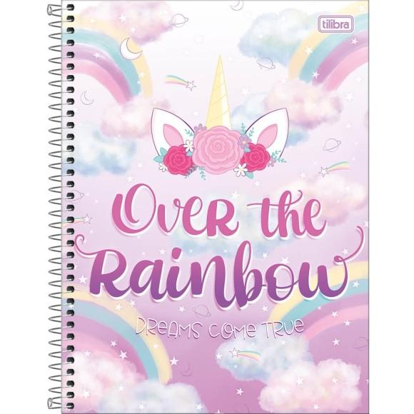 Caderno 1 Matéria Universitário Espiral  Blink! Unicórnio - Over The Rainbow - Tilibra