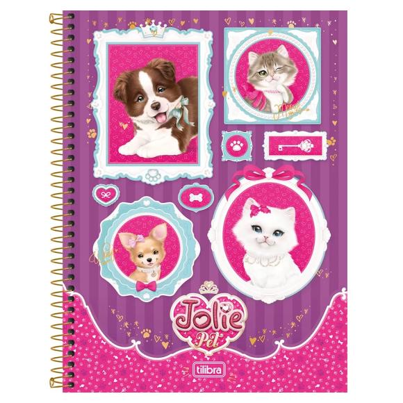 Caderno 10 Matérias Jolie Pet - Cachorros e Gatinhos - Tilibra