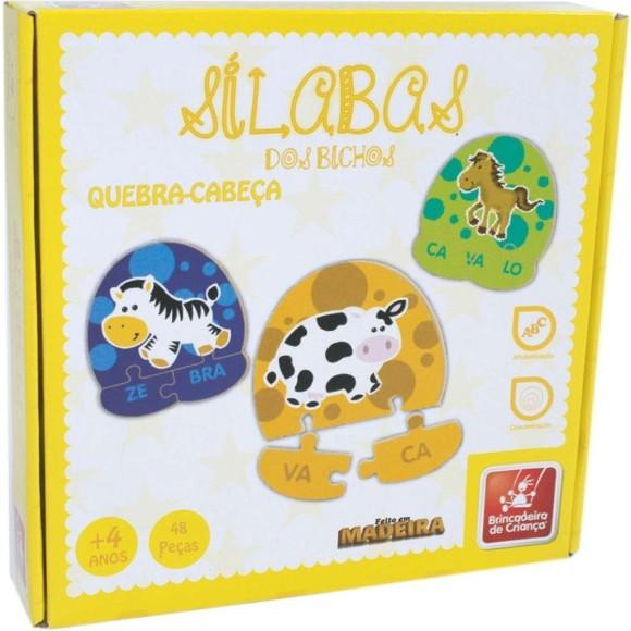 Sílabas dos Bichos - Quebra-Cabeça 48 Peças - Brincadeira de Criança