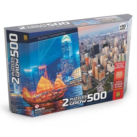 Quebra-cabeça 500 peças Duplo - Skylines Cosmopolitas - Grow