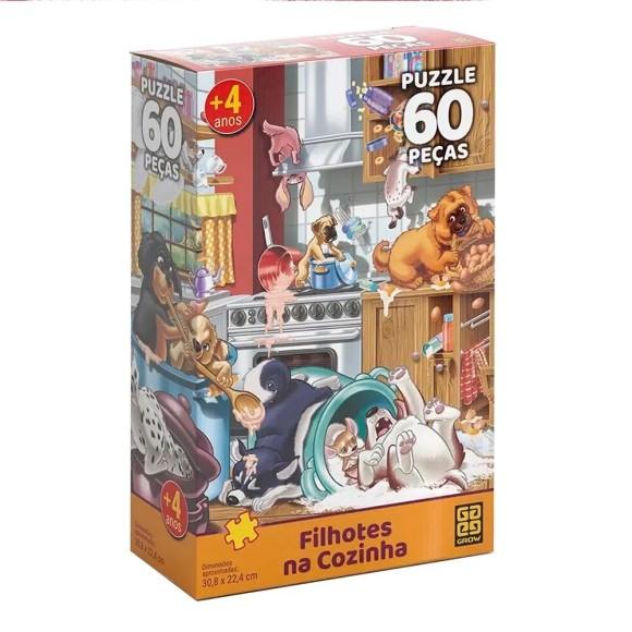 Quebra-cabeça 60 peças Filhotes na Cozinha - Grow