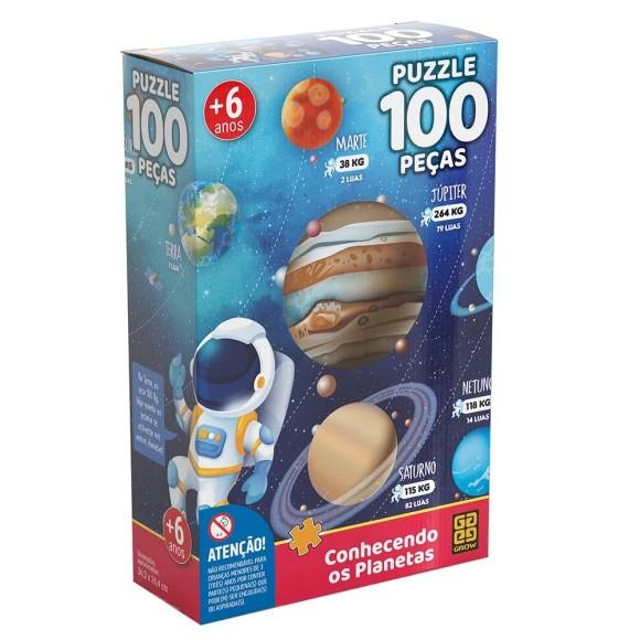 Quebra-cabeça 100 peças Conhecendo os Planetas - Grow