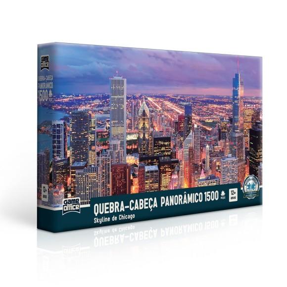 Quebra-cabeça Panorâmico 1500 peças Skyline de Chicago - Game Office