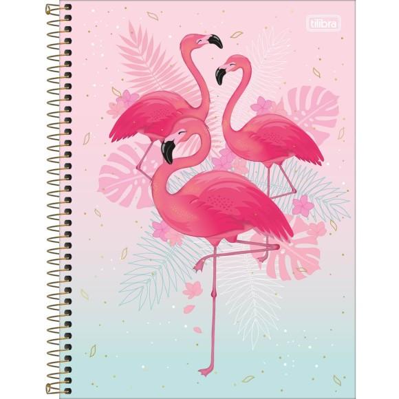 Caderno 1 Matéria Universitário Espiral Aloha Flamingo - Tilibra