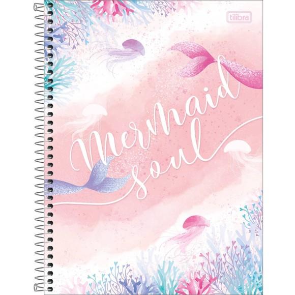 Caderno 16 Matérias Universitário Espiral Wonder Sereia - Mermaid Soul - Tilibra