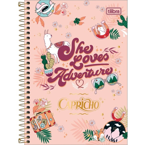 Caderno 1 Matéria Universitário Espiral Capricho - She Loves Adventure - Tilibra