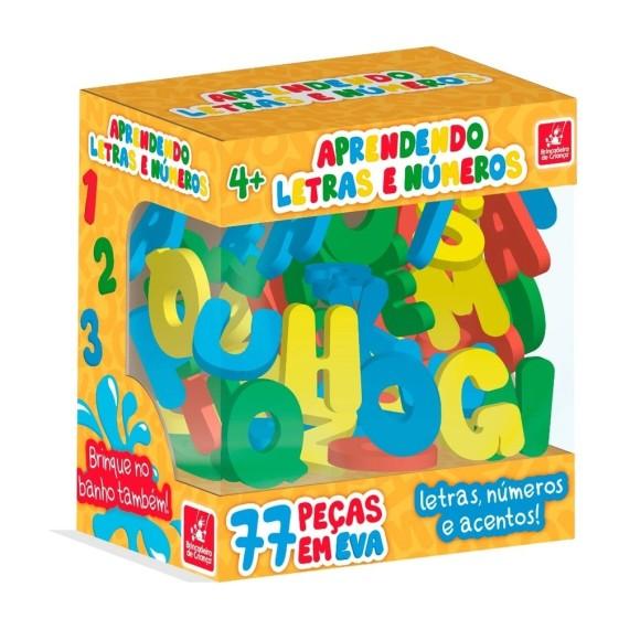 Aprendendo Letras e Números - E V A - 77 Peças - Brincadeira de Criança