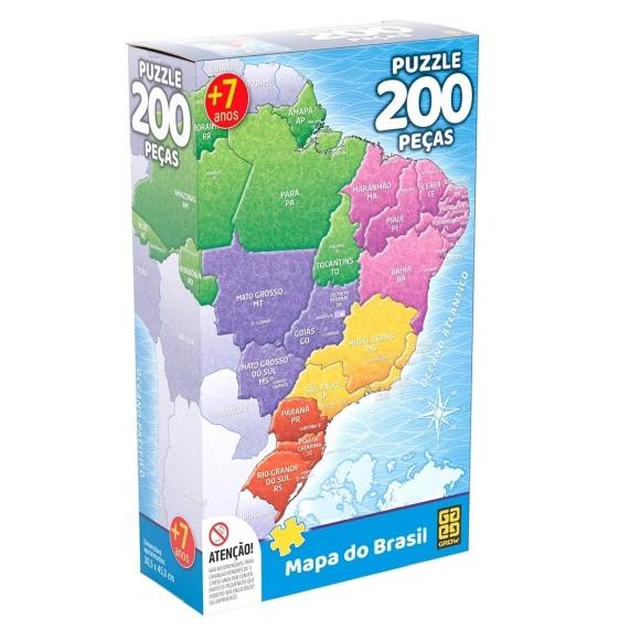 Quebra-cabeça 200 peças Mapa do Brasil - Grow