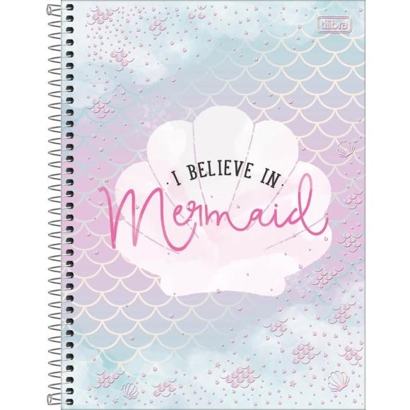 Caderno Universitário Espiral Wonder I Believe in Mermaid - 10 Matérias - Tilibra