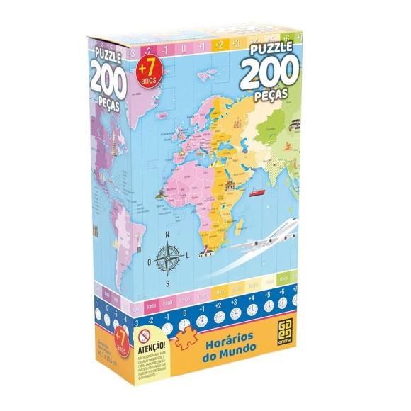 Quebra-cabeça 200 peças Horários do Mundo - Grow