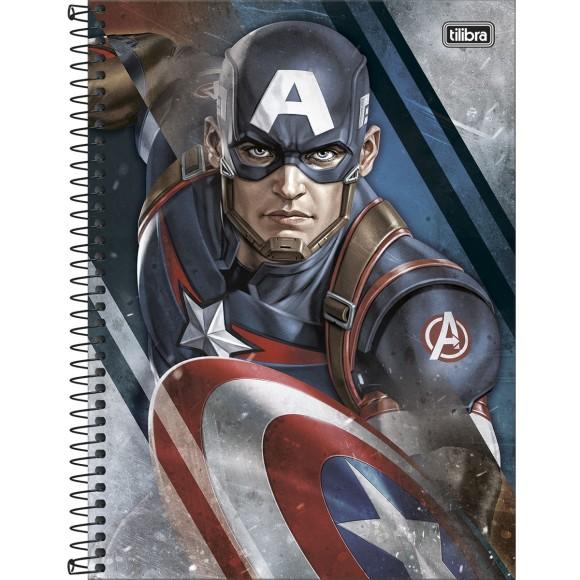 Caderno 1 Matéria Universitário Espiral Avengers - Capitão América - Tilibra