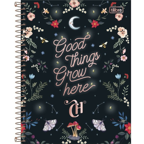 Caderno 10 Matérias Colegial Espiral Capricho - Good Things Grow Here - Tilibra