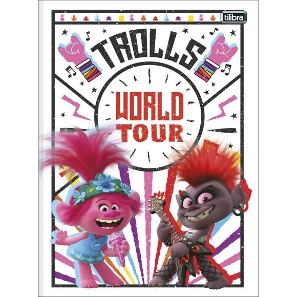 Caderno Brochurão Capa Dura Trolls World Tour - 80 folhas - Tilibra