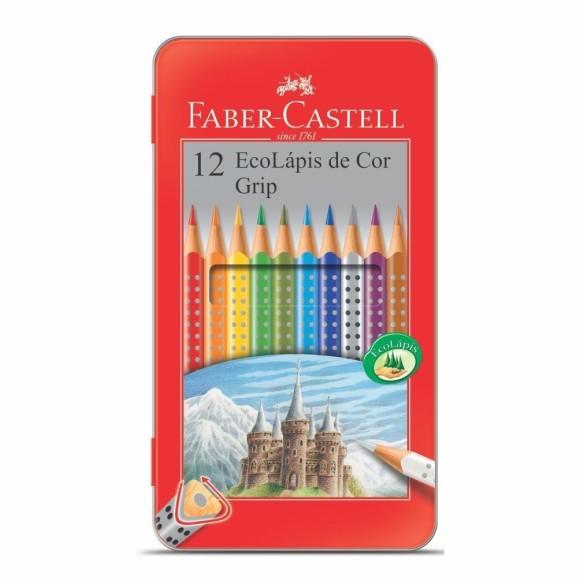 Lápis de Cor 12 Cores Grip Lata - Faber-Castell