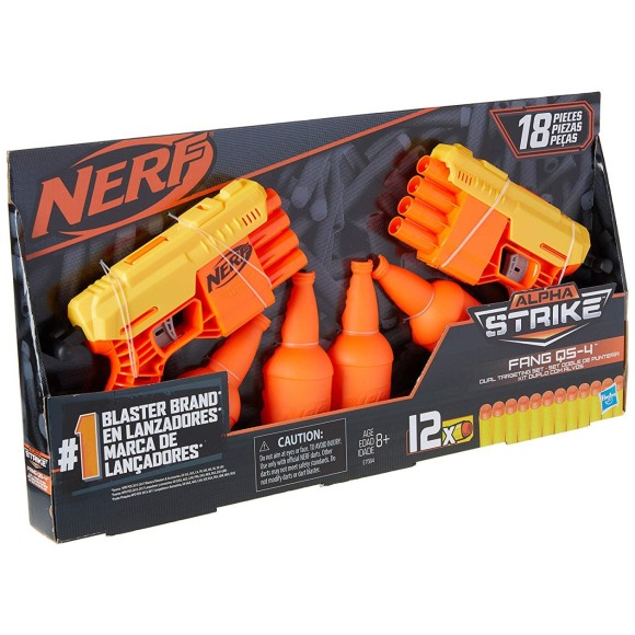 Nerf Alpha Strike - Kit Duplo de Treino Fang QS-4 - 18 Peças - Hasbro