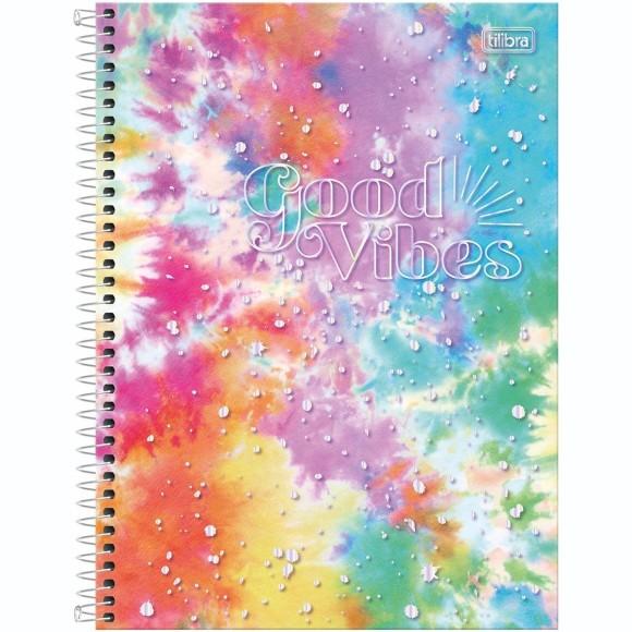 Caderno 10 Matérias Universitário Espiral Good Vibes