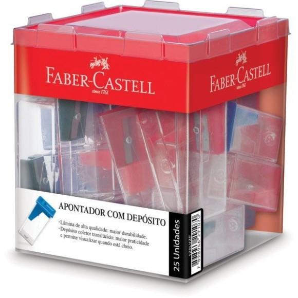 Apontador Com Depósito Faber Castell - Cores Sortidas 25 Unidades