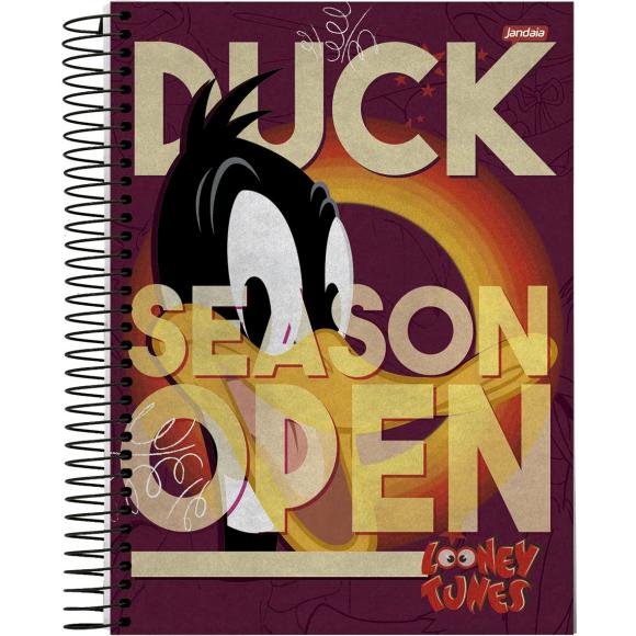 Caderno 10 Matérias Universitário Espiral Looney Tunes Patolino - Jandaia